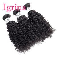 unverarbeitete indische haarverlängerungen großhandel-Igrina Raw Virgin Indian Hair Curly 3 Bundles Angebote unverarbeitete nasse und wellige menschliche Haarwebart Bundles indische Jerry Curly Hair Extensions