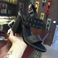 Wholesale korean women dress up - 2017 new slope with the ladies sandals summer Korean version of the comfortable fashion wild diamond rough with high-heeled high heels35-41