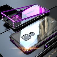 металлические флип-чехлы оптовых-Роскошный магнитный адсорбционный флип-телефон чехол для Huawei Mate 20 Pro Mate 20 Lite 20 X чехол магнит металлический закаленное стекло задняя крышка