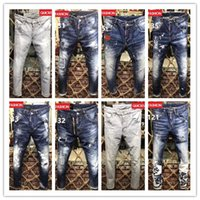 Wholesale Model Button - 2018 New Style Men's Denim Jean Embroidery DSQ2 Pants Holes D2 Jeans Button Trousers Mixed Order! New Model