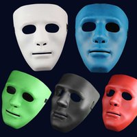 Wholesale Street Dance Costumes - 5 Colors Hip Hop Street Dance Mask Adult Men's Full Face Party Mask Costume Masquerade Ball Plastic Plain Thick Masks for Halloween