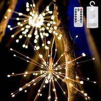 el control remoto funciona al por mayor-Fuegos artificiales llevó la cadena de luz de cobre Ramo Forma Luces de la secuencia de LED Luces decorativas con pilas con control remoto para bodas
