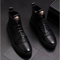 carregadores coreanos dos homens da forma venda por atacado-Botas de couro dos homens Martin botas de cowboy de moda coreana botas curtas casuais sapatos de alta-top maré sapatos masculinos ..