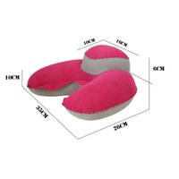 Wholesale red neck car for sale - 1 U Shaped Travel Pillow Neck Car Head Rest Soft Air Blow Up Pillow Inflatable U Shape Pillow Cushion Washable