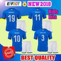 Wholesale Italian Cup - AAA+ 2018 World Cup Kids kits Italy home blue soccer jerseys Italian national team VERRATTI 10 PIRLO 21 Buffon 1 Football jerseys uniform ki