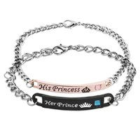 Wholesale prince jewelry - His PRINCESS Her PRINCE Bracelets Personalized Couples Bracelet Jewelry Crown High Quality Rhinestone Charm Bracelet for Lovers