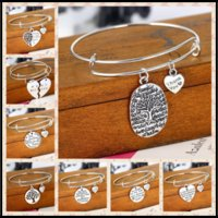 Wholesale silver thank charms - 18 Designs Alloy Charm Bangle Bracelets THANK YOU&BEST Tree of Life Letter Wristband Familial Affection Stands