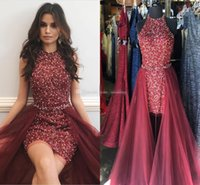 Wholesale long skirts one side - .Sparkly Maroon Red Short Prom Dresses Jewel Neck Sleeveless Crystal Beading Sheath Tulle Over Skirt Cocktail Party Dresses Pageant Dresses