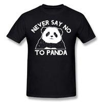 camisas dos homens de algodão on-line venda por atacado-Dutrodu nunca diga não para panda mens hip hop online camisetas de manga curta 100% algodão homem o pescoço tops