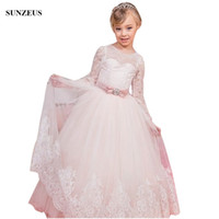 Wholesale wedding gowns online china - Long Sleeve Lace Flower Girl Dress Iovry Tulle Kids Wedding Party Gowns With Pink Bow Sash China Online Store FLG095