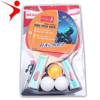 mejor tenis de mesa de goma al por mayor-2 piezas de caucho crudo de alta calidad con doble cara en el entrenamiento de la raqueta de entretenimiento con dos bolas de plástico disponibles para los estudiantes