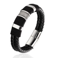 jóias pulso mens venda por atacado-Mens pulseira de couro genuíno de aço inoxidável fivela magnética pulseira de pulso preto manguito pulseira de jóias de moda favor de partido