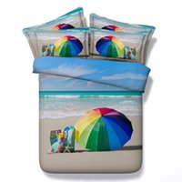 Wholesale umbrella sets resale online - 3D colorful umbrella Duvet Cover bedding sets queen Bedspreads Holiday Quilt Covers Bed Linen Pillow Covers ocean beach theme bedspreads
