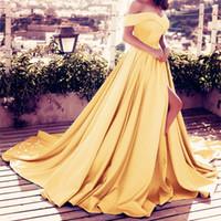 uzun sarı gelin kıyafet toptan satış-Omuz Kapalı pembe Uzun Saten Gelinlik Modelleri Abiye giyim Sarı Yüksek Yarık A-line Abiye Uzun Kat Uzunluk Gelin Önlükler