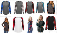 Wholesale Crew Neck Sweaters Wholesale - Women Stitching Plaid T-shirts Tops With The Bottom Radian Design Pullover Sweater Undershirt For Girls Ladies Multicolor 8size Hot sell DHL