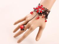 pulsera de encaje de diamantes al por mayor-Estilo caliente Retro estilo étnico accesorios de tocador de las mujeres diamante rojo delicado encaje pulsera moda clásica delicada elegancia