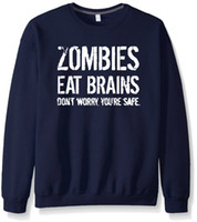 Wholesale blue brains - Zombies Eat Brains Letters Print Hoodies Autumn Winter New Men Women Pullovers Sports Wear Fleece Hoodies