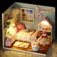 Wholesale Dolls House Lights - Manual DIY Wooden Doll House Puzzle With LED Light Mini 3D Dollhouse Creative Living Room Furniture House Decor Model Kit 21jb YY