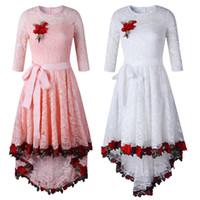 Vestido de verano 2018 bordado de las mujeres rosa floral largo vestido de  encaje de las señoras de media manga elegante vestido de fiesta de cola de  milano ... 7ac56c671e35