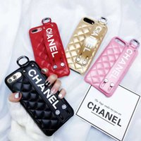 Wholesale pvc resin china online - Luxury Phone Case for IPhone X Fashion Paris Show Classic Rhombus Lattice Wristband Leather Phone Back Cover for IPhone plus plus