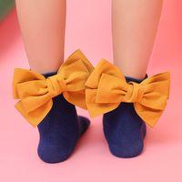 детские каблуки оптовых-2018 Мода младенцы новорожденных девочек дети дети симпатичные 3D дизайн пятки Луки Принцесса гетры твердые хлопок девушка Носки 1-8years