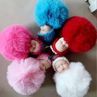 kürklü bebek toptan satış-Sıcak Sevimli Uyku Bebek Bebek Anahtarlık Ponpon Tavşan Kürk Topu Anahtarlık Araba Anahtarlık Kadın Anahtarlık Çanta Kolye Yenilik Öğeleri WX9-369