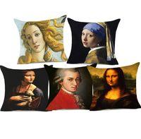 Wholesale oil painting girls portrait resale online - Mona Lisa Beauty Girl Cushion Covers Famous Art Europe Oil Painting Portrait Thick Linen Pillow Covers Bedroom Sofa Decor