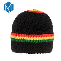 M MISM New Womens Men Novità Ranbow Berretto a righe femminile Cappellino  maschio Giamaica Bob Marley Rasta Beanie Reggae Copricapo 343d182271a5