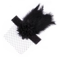 Wholesale Headbands Hair Nets - Flower Feather Baby Headband 3 Color Baby Girl Fashion Hairband Lace Net Style Hairdress