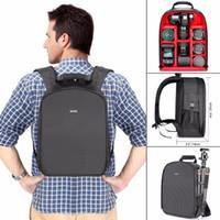 красный рюкзак для камеры оптовых-Оптовая камера чехол водонепроницаемый противоударный 31x14x37 см рюкзак сумка с штатив держатель для вспышки камеры аксессуары черный / красный серый