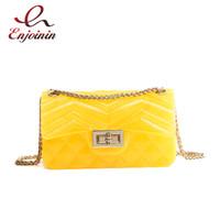 Wholesale yellow jelly bags - Sequin Jelly PVC Ling Cute Mini Women's Chain Purse Shoulder Bag Fashion Crossbody Mini Messenger Bag Ladies Flap Party