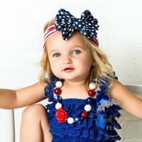 ingrosso vestiti 4 luglio-Mother Daughter Mathching Fasce per capelli Accessori per le donne Fasce per bambina Fasce per il giorno di luglio American Cheer Bows Indipendenza americana