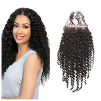 Wholesale afro kinky curly closure resale online - 8A Brazilian Kinky Curly Lace Closure Hair Brazilian Afro Kinky Curly Human Hair Extensions Brazilian Virgin Hair