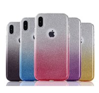Wholesale Galaxy Glitter Cases - 3 in 1 Bling Glitter Gradient TPU Silicone PC Case For iPhone 6 6S 7 8 X iPhone7 iPhone8 Samsung Galaxy S7 S8 Edge S9 Plus Note Note8