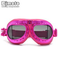 розовые очки для мотоциклов оптовых-BJMOTO Vintage Pink Motorcycle  Glasses Antiparras Motocross Gafas Moto Motorbikes Goggles