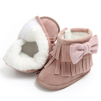 botas de borlas al por mayor-Keep Warm Bowknot Borlas de dos pisos Soft Snow Boots Soft Crib Shoes