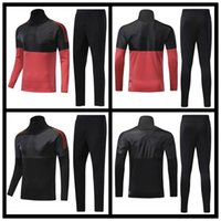Wholesale Field Full - 2018 track and field football training kit sportswear 2018 World Cup soccer training kit Half red deep black suit man's winter running long
