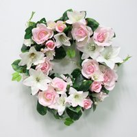 Wholesale green garland white flowers online - DIY Wedding Artificial Flower Rose Lily Plant Green Leaves Simulation Cane Adornment Garland Wall Party Decor Vine Lintel Flower