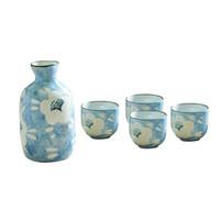 japanese sake set venda por atacado-Saquê Servindo Conjunto Procelain Japonês-estilo Handmade Impresso Cerâmica Garrafa Copos de Saquê Cerâmica Copos para Beber Saudação