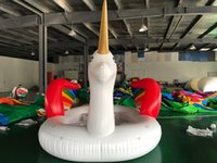 Wholesale toy seals resale online - inflatable unicorn water float sport game aqua ship with sealed blower