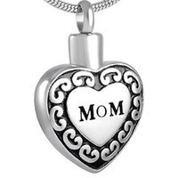 Wholesale Cremation Jewelry Necklace Mom - Free Engraving - Personalized Custom Stainless Steel Mom in Heart Cremation Necklace Ashes Urn Memorial Pendant Jewelry with Fil