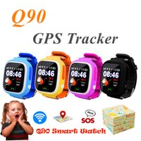 Wholesale Tracking Devices For Kids - Q90 Bluetooth GPS Tracking Smartwatch Touch Screen With WiFi LBS for iPhone IOS Android SOS Call Anti Lost SmartPhone Wearable Device in Box