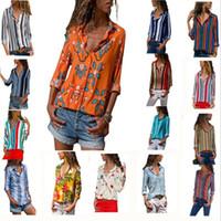 ingrosso blusas vintage-Camicia a righe a manica lunga da donna 15Colors a righe stampate Camicetta casual vintage camicie blusas eleganti camicie con scollo a V abbigliamento casa GGA977