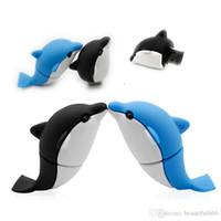 dolphin stick toptan satış-Tasarım Gerçek Kapasite Karikatür Yunus USB Flash Sürücü 16 GB ~ 64 GB USB 2.0 Pendrive Memory Stick