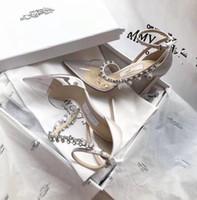 chaussures habillées à la cheville achat en gros de-Mode rivets filles sexy bout pointu noir blanc danse sandales chaussures de mariage Style femmes hauts talons robe chaussures