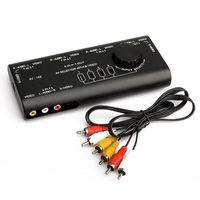 video girişi oynatıcı toptan satış-Pratik Ses Video Anahtarı AV Audio Video Sinyal Switcher 4 Giriş TV TV Player için RCA kablosu ile 1 Çıkış Anahtarı
