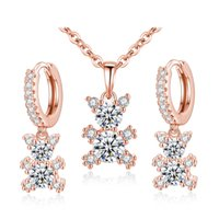 Wholesale Hoop Pendant Necklace - Cute Animal Jewelry Sets 18K White Rose Gold Plated AAA+ Cubic Zircon Bear Hoop Earrings Rolo Chain Pendant Necklace for Women Girls