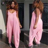 9d88e2614df 2017 loose pants Jumpsuits women Spaghetti Strap female Pink  Purple  Playsuits Large size Big pants