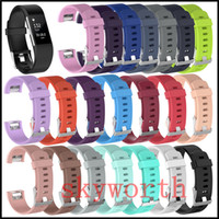 Wholesale white watch band replacement - Fitbit Charge 2 Wrist Wearables Silicone Straps Band For Fitbit Charge Watch Classic Replacement Silicone Bracelet Straps Band (No Tracker)
