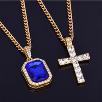 cubic zirconia long necklace بالجملة-24K Gold Color Cross Gemstone Pendant Necklaces For Woman Crystal Pendant Cubic Zirconia Long Necklace Bijoux Jewelry Wholesale